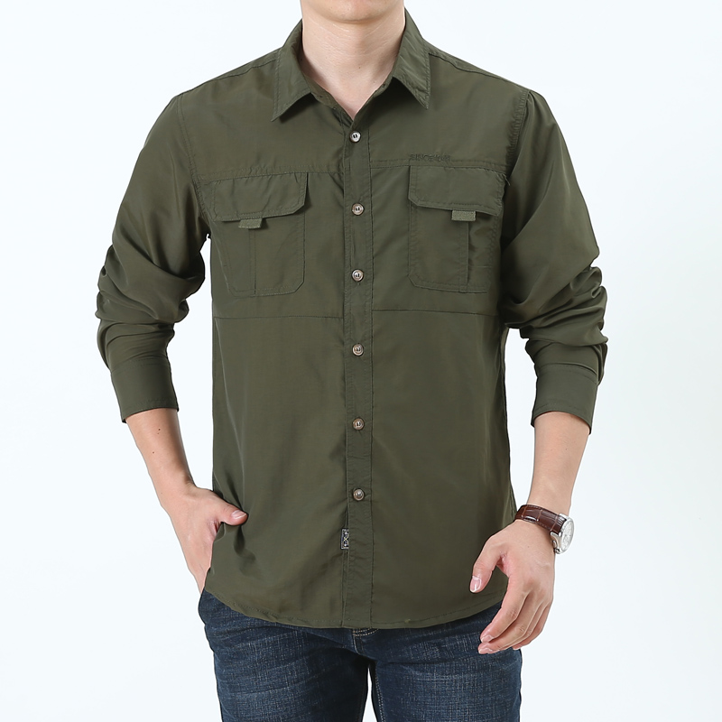 QUICK DRY spring  summer  autumn work clothes Men's   casual  long sleeve shirts with pockets safari style