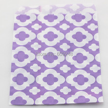 100pcs Mixed Colors Wedding Buffet Candy Treat Lilac Mod Patterned Paper Party Favor Gift Bags for Kids(China)