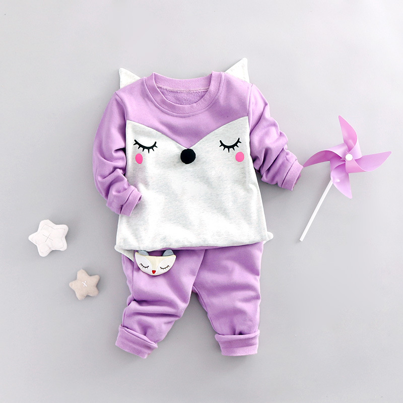 2017 New Baby Girls Clothes Sets Cartoon Fox Kids Clothes Cotton Suits For Children Costume Boys Vestidos Suits Vestido Infantil<br><br>Aliexpress