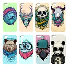 0495 Hard Back Case for iphone 5C Cartoon animals design cell phone bags case cover for iphone 4S 5S 5C SE 6S 7 PLUS Samsung S6