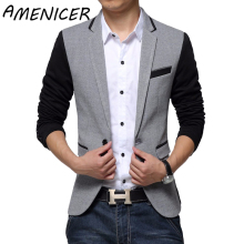 New Slim Fit Casual jacket Cotton Men Blazer Jacket Single Button Gray Mens Suit Jacket 2017 Autumn Patchwork Coat Male Suite