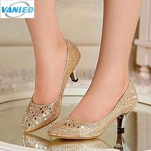 Hot Sales women high heel shoes 2017 Genuine Leather Thin High Heels Women Pumps Rhinestone Sexy Wedding Shoes Gold Silver Black