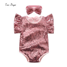 Tem Doger Girls Store Baby Rompers Baby Girl Sequin Romper 2017 New Summer Style Cotton Baby Girls Clothing Set Kids Jumpsuit