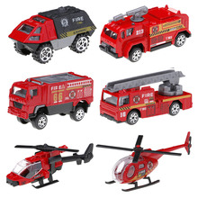 High Quality Alloy Car Toys Set 6 Pcs Miltary Fire Truck Swat Vehicle Machines for Kids(China)