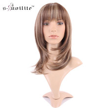 SNOILITE Daily Curly Real Natural Dress Synthetic Wig Streak Light Brown Blonde Women Full Wigs Ladies Stylish Cosplay Party(China)