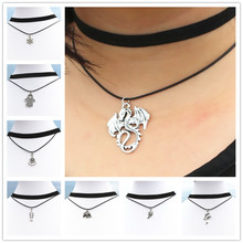 Punk Clover Feather Cross Leaf Peace Wing Dragon Leather Clavicle Necklace Collares Bijoux Women Jewelry Double Layers Choker