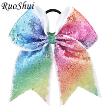 7 Inch Sequin Cheerleading Hair Bow Glitter Grosgrain Ribbon Bows Elastic Band Ponytail Hair Holder For Girls/Women 2017 Newest(China)