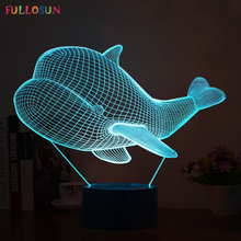 Cutely 3D Visual Animal Whale Shape Lights Lamp LED Sensor Lights with USB Table Lamp for Children Holiday Gifts
