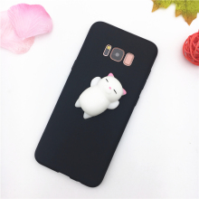 3D Cute Animal Cat Bear Panda Soft Black Squishy Phone Case For Samsung Galaxy A3 A5 A7 J3 J5 J7 2016 2017 S8 Plus Case Silicone