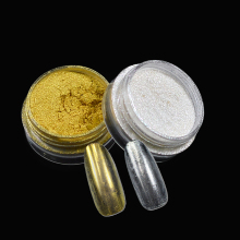 2 Box Mirror Powder Gold+Silver Chrome Nail Art Decorations Glitter Pigmet Dust  Magic Glimmer for DIY Nails Tips 2&4