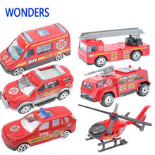 Fashion fire fighting set fire car, ambulance, copter Educational toys alloy models mini car children Baby gift(China)