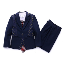 Kids Clothes Boys Navy Tuxedo suit with Patchwork Blazer Vest and Trouser 3PCS Clothing sets for Kids Formal Attire for Occasion