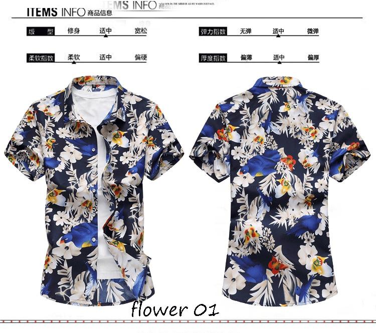 2018 Short Sleeve Mens Hawaiian Shirt Male Casual Camisa Masculina Flower Print Beach Summer Shirts Brand Clothing Men Plue Size 10