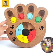 Interactive Toys for Dogs and Cats Food Treated Wooden Dog Toy Eco-friendly Puppy Pet Toy Educational Pet Bone Paw Puzzle Toy(China)