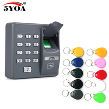 5YOA 5YBX6A Biometric Fingerprint Access Control Machine Digital Electric RFID Code System For Door Lock + 10 RFID Keys Tags(China)