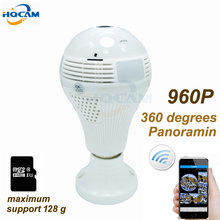 HQCAM 960P 360 degrees Panoramin Smart Home Safty Wifi 960P VR Camera LED Bulb Security Camcorder Motion Detection CCTV PC Phone(China)