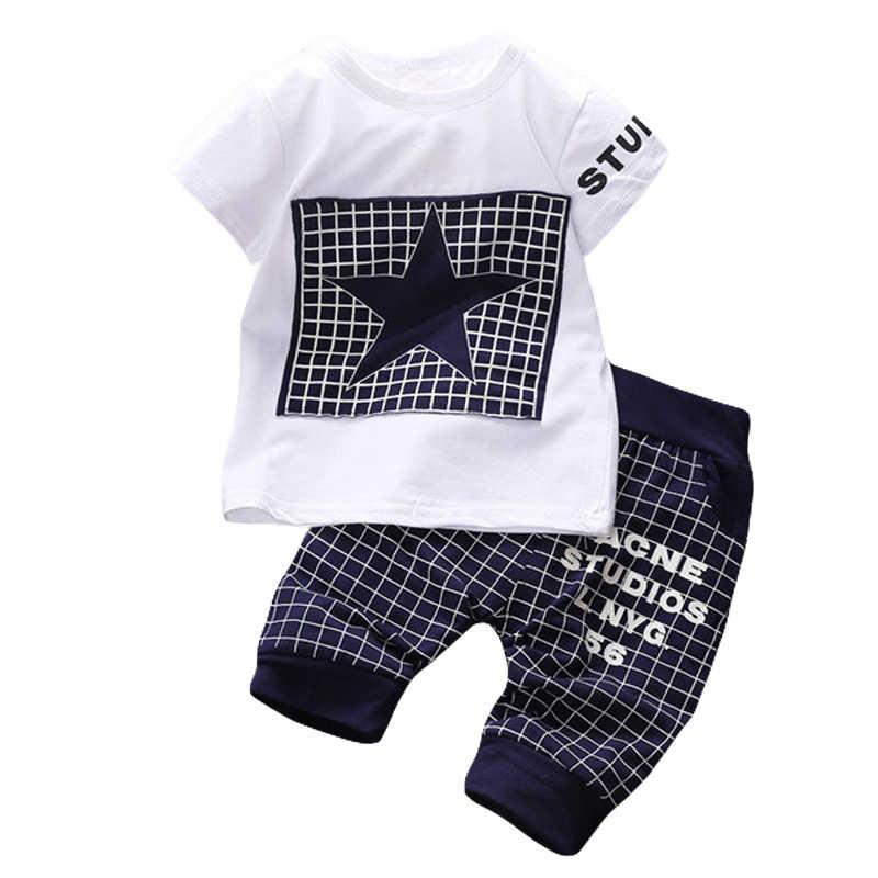 d9dce795a771 2018 летняя одежда для маленьких мальчиков футболка + брюки наряды детская одежда  спортивный костюм для мальчиков