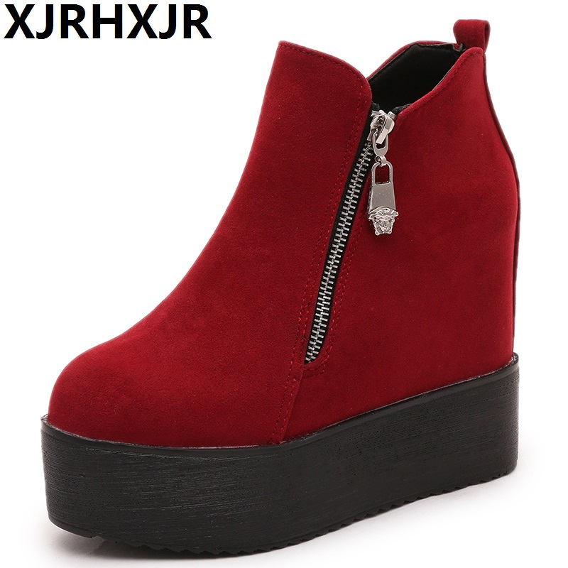 Classic Zapatillas Autumn Comfortable Platform Boots Heels Shoes Women Ankle Boots Height Increased Shoes Winter Woman Boots<br>