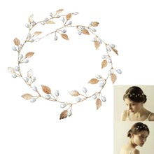 Women Ladies Wedding Bridal Headband Imitation Pearl Leaves Hairband Head Ornament Hairs Jewelry Gift M8694(China)