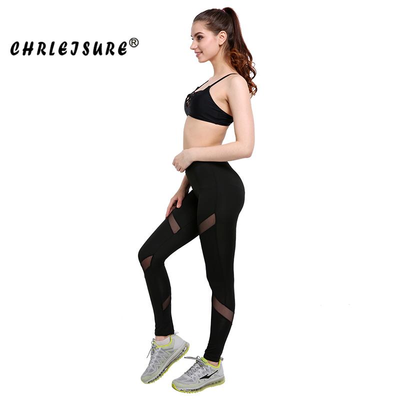 CHRLEISURE Sexy Women Leggings Gothic Insert Mesh Design Trousers Pants Big Size Black Capris Sportswear New Fitness Leggings 15