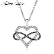 Infinity Heart Cross Pendant Dazzling AAA Cubic Zirconia Love Statement Necklace Cute Pendants Necklaces For Women Lady Jewelry(China)