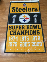 NFL Pittsburgh Steelers championship flag 3ftx5ft Banner 100D Polyester Flag metal Grommets(China)
