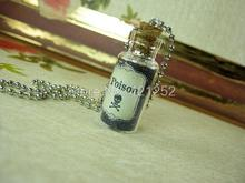 12pcs/lot  Toxin Toxic Poison necklace  tags  Vial  glass Bottle Pendant jewelry