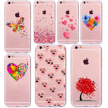 Watercolor Butterfly Pink Love Heart Shell For iphone 6 6s 5 5s se 6plus 7 7Plus Transparent Silicon TPU Cover Cell Phone Cases(China)
