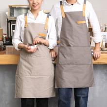 Full Length Gray/Khaki Cotton Linen Apron Barista Cafe Chef Bistro Uniforms Waitress Painter Baker Florist Gardener Workwear B25(China)