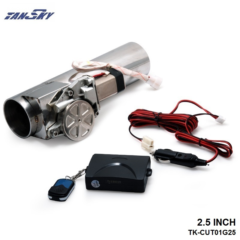 """TANSKY- Universal 2.5"""" Exhaust Pipe Electric I Pipe Cutout with Remote Control Wholesale Valve For Jeep Wrangler TK-CUT01G25"""