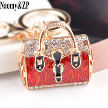Naomy&ZP Crystal Women Key Chain Love handbag Key Ring Holder Car Pendant Fashion Key Finder Purse Jewelry Bag Keyrings Cute(China)
