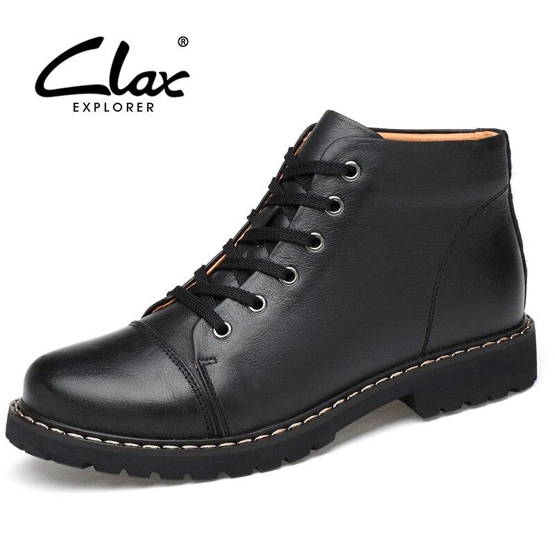 CLAX Men Winter Boots Fur Leather Shoe High Top Genuine Leather Men's Warm Shoe Plush Autumn Casual Footwear Work Boot