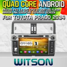 WITSON S160 CAR DVD for TOYOTA PRADO 2014 STEREO GPS  NAVIGATION Quad Core Android 4.4+CAPACITIVE 1024X600 HD+16G Flash+PIP+WIFI