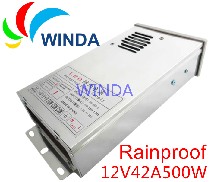 LED display Rainproof power supply output DC 12V 42A 500W monitor adapter for led strip outdoor new<br>