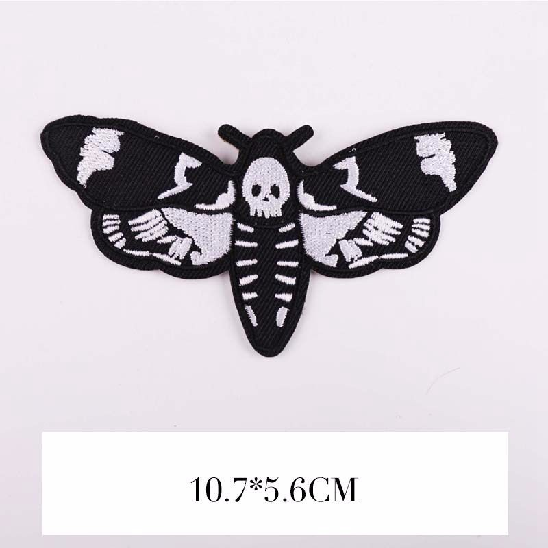 Butterfly Dead Head Handmade Embroidered Patch Applique