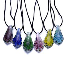 Hot sale 6 color fashion waterdrop Art Lampwork murano glass pendant necklace for women cheap wholesale summer jewelry(China)