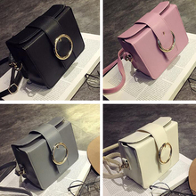 2017 fashion ladies Messenger bag shoulder bag small square bag round buckle Korean version of the simple mini bag(China)
