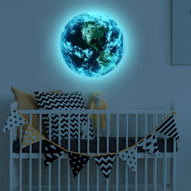 HTB1mrYBRVXXXXc.XFXXq6xXFXXX1 - Hot sale 1PCS new Luminous blue earth Cartoon DIY 3d Wall Stickers for kids rooms bedroom wall sticker Home decor Living Room