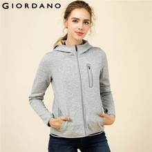 Giordano Women Sweatshirt Fleece Thick Hoodie Hooded Coat Zip Fly Pockets Finger Hole Jackets Warm Female Mujeres Winter Tops(China)