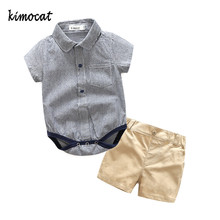 Kimocat Summer Baby Boys Sets Short Sleeve 2pcs Shirt+Pants Cotton College boy gentleman Kids Boy Clothes Carters Clothing(China)