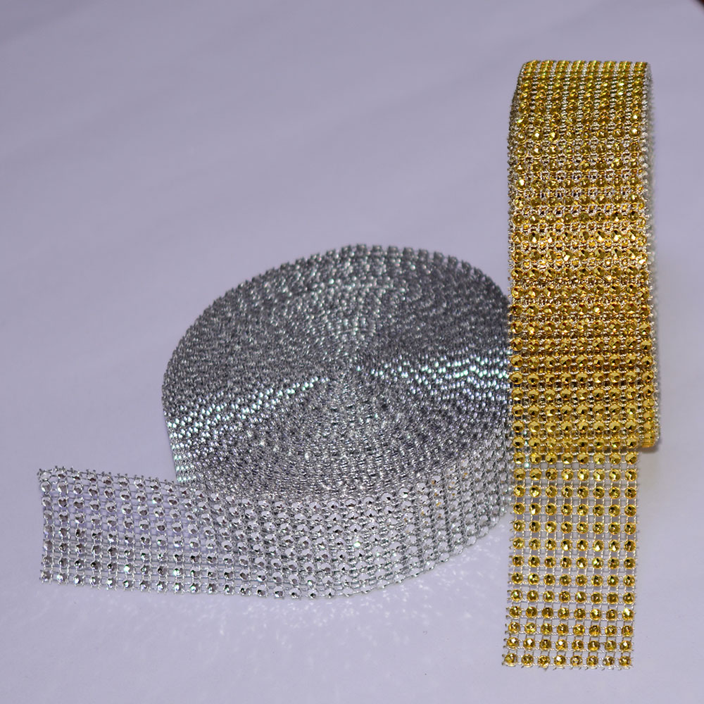 5 Yard 8 row Gold Silver Diamond Mesh Wrap Roll Sparkle Rhinestone Crystal Cake Ribbon Wedding Party Decoration Clothes Trimming(China (Mainland))