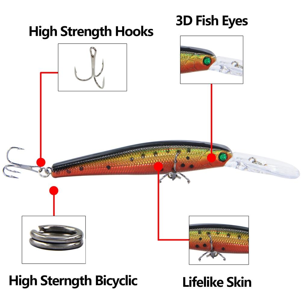 5 pcs Hard Fishing Lures Minnow High Strength Hooks 3D Eyes Fishing Bait Tackle