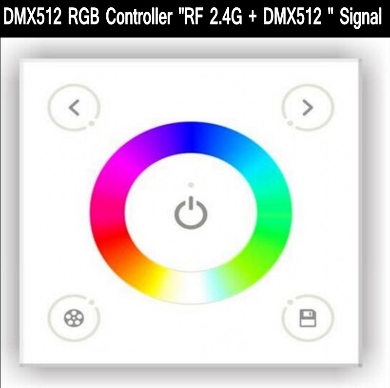AC 100-240V Led DMX512 Rgb Controller  86 Glass Touch Panel RF 2.4G + DMX512 signal DX3 for rgb led strip Free Shipping<br>