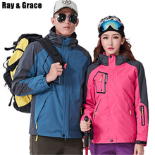 RAY GRACE Winter Women Men Outdoor Thermal Hiking Camping Sports Coat Waterproof Windproof Jackets Suits With Fleece Liner(China)