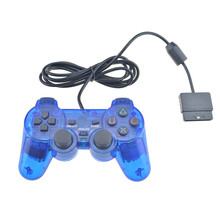 Transparent Color Wired Controller For PS2 Dual Vibration Joystick Gamepad Joypad Through Color For Playstation 2 Controller