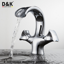 D&K Basin Faucets Bathroom Waterfall Faucet Chrome Plated Dual Handle Brass Basin Mixer High Quality DA1382801(China)