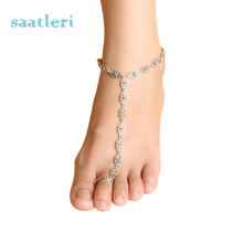 Girl 2017 Silver Adjustable Chain Anklet Foot Beach Sandal Barefoot Jewelry Girl's cool chain Beautiful Accessories Newest Style(China)