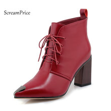 Woman Genuine Leather Sqaure High Heel Lace Up Ankle Boots Fashion Pointed Toe Dress Winter Boots Black Wine Red