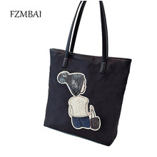New Trend Women's Waterproof Oxford Cloth Tote Bags Leisure Boy & Girl Pattern Handbags(China)