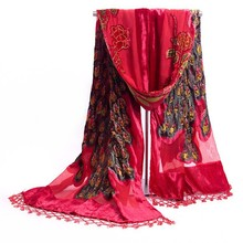 Hot Selling Red Women's Velvet Silk Beaded Embroidery Shawl Scarf Wrap Scarves Peafowl Free Shipping SW31-C